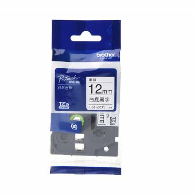 兄弟TZe-Z231-12mm白底黑字标签色带